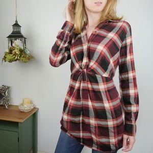 A&F Plaid Flannel Shirt Long Sleeve Fall Tunic Top